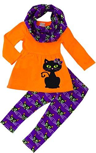 Toddler Little Girls Halloween Black Cat Boo Kitty Orange Dress Leggings Scarf Set (Kitty Cat Pant)