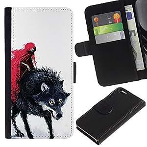 LASTONE PHONE CASE / Lujo Billetera de Cuero Caso del tirón Titular de la tarjeta Flip Carcasa Funda para Apple Iphone 6 4.7 / Red Cape Riding Hood Death Werewolf