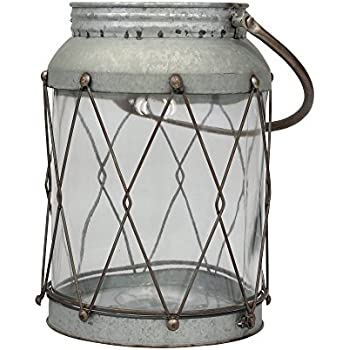 Stonebriar American Adventure Large Metal Lantern with Handle and Glass Insert, Gray