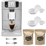 Cuisinart EM-1000 Espresso Machine, Silver Includes 2 Ceramic Tiara Espresso Cups and Saucers, 2 Demi Spoons and 2 Bags 16-ounce Coffee Beans