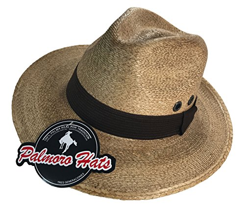 [Cartin Faldon Palm Straw Panama Fedora Hat (Medium, Cafe w/ Brown Band)] (Straw Safari Hat)