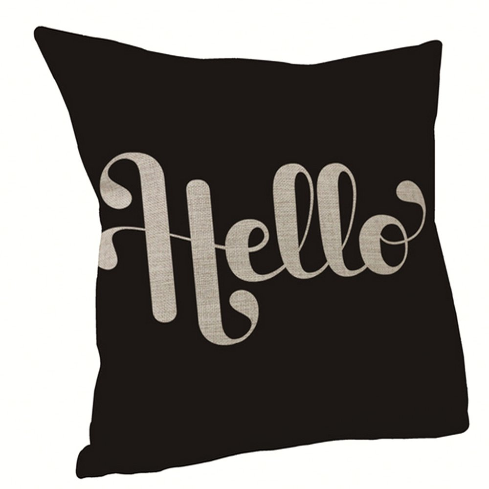vanki Letters Printed Serial Cotton Linen Square Decorative Throw Pillow Case Cushion Cover 18 x 18 inches, Black Based Hello Character Pattern