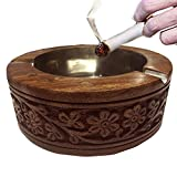 Unique Handmade Vintage Wooden Cigarette Ashtray Personal Custom Antique Decorative Indoor and Outdoor 5 Inch