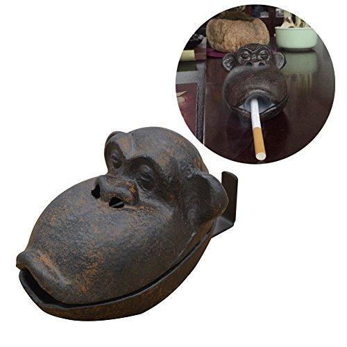 Ozzptuu Cast Iron Retro Creative Orangutan Cigar Ashtray Funny Cigarette Ash Tray Sculpture for Home Decor Black