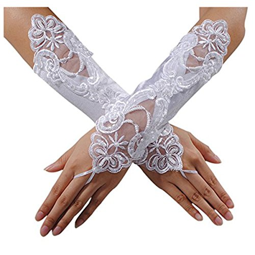 Beauty Bridal Sexy Fingerless Pearl Lace Satin Gloves Bride Wedding Party Costume(White)