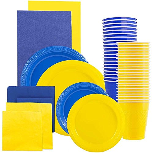 JAM Paper Party Supply Assortment - Blue & Yellow Grad Pack - Plates (2 Sizes), Napkins (2 Sizes) , Cups & Tablecloths - 12/pack