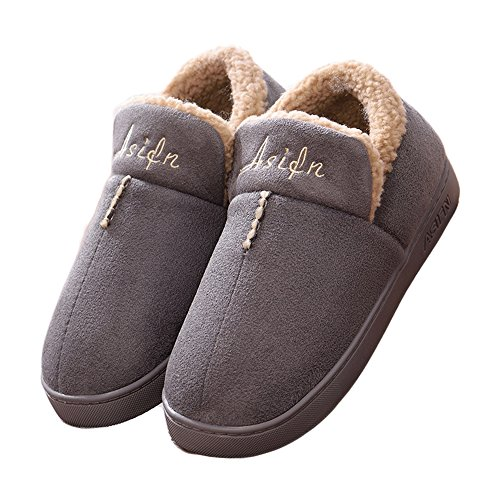 CUSTOME Men women unisex Cotton Knitted Anti-slip House Slippers Comfortable Cotton Warm House Soft Sole Indoor Slippers Gray 62pJf4U