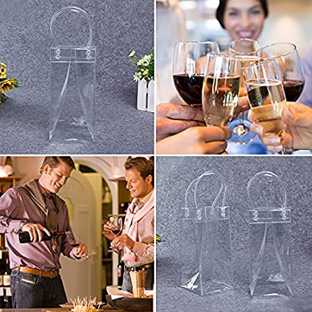 5 Pcs Bolsa De Vino De Hielo Transparente, Champagne Cubitera Plegable, Bolsa De Refrigerador con Mango para Cerveza Vino Blanco Bebidas Heladas