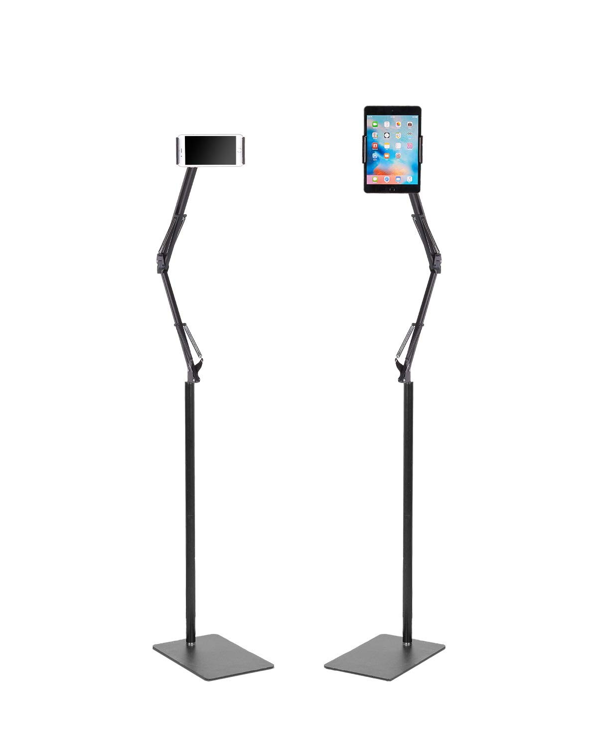 Kaforise Long Arm Floor Stand For Smartphone and Tablet, 360 Degree Adjustable Floor Stand Holder For 4.7''-10'' Phone , Black Maximum Height 55'' by Kaforise