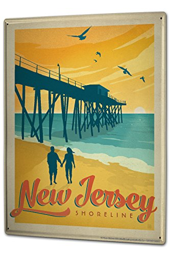 Tin Sign XXL Travel Kitchen New Jersey Shore Line by LEOTIE