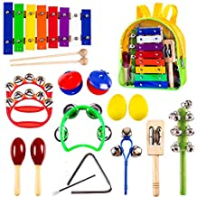 Kids Mini Band, Wooden Musical Instruments Set, Noise Maker Toys, Glockenspiel, Xylophone, Percussion, Bells, Maracas, Rhythm, Mallet, Gift for 1, 2, 3, 4, 5 Year Olds, Boys, Girls, Baby, Toddlers