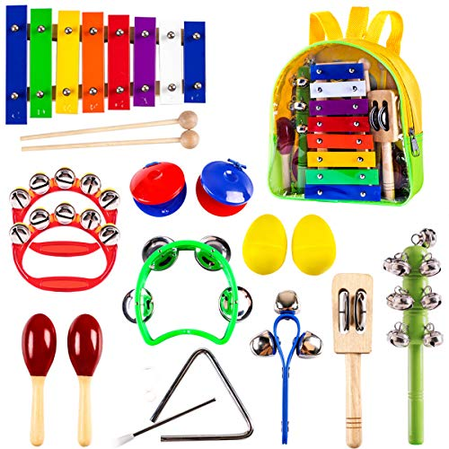 iPlay, iLearn Kids Mini Band Musical Instruments Set, Wooden Percussion Bells, Shakers, Maracas, Xylophone, Rhythm, Educational Learning Toys -