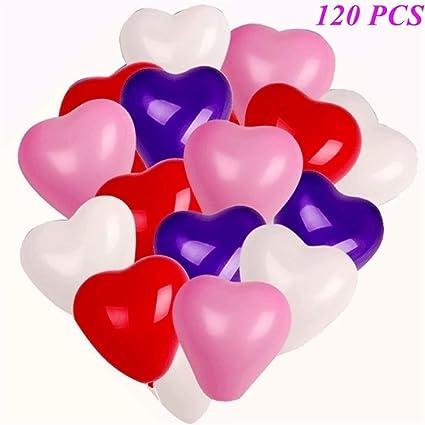 Amazon.com: Globos de corazón, 120 unidades, 12 pulgadas, 6 ...