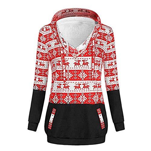 Dressing Women's Chirismas Long Sleeve Shirt V Neck Pullover