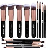 Brush 14PCS Makeup Set Synthetic Kabuki Makeup Brushes Cosmetics Foundation Blending Blush Eyeliner Face Powder Brush Makeup Brush Kit (Black & Gold)
