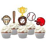 KREATWOW Baseball Cupcake Toppers Picks for Kids Baseball Theme Birthday Baby Shower Cake Decorations