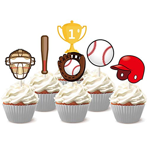 Price comparison product image KREATWOW Baseball Cupcake Toppers Picks for Kids Baseball Theme Birthday Baby Shower Cake Decorations