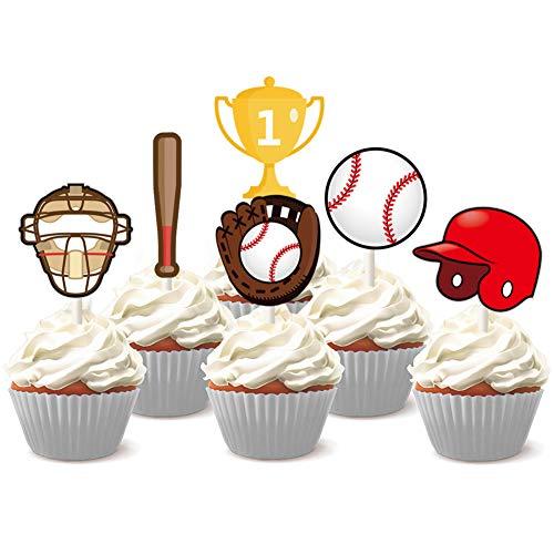 Baseball Cupcake Toppers Picks for Baseball Theme Birthday Baby Shower Cake