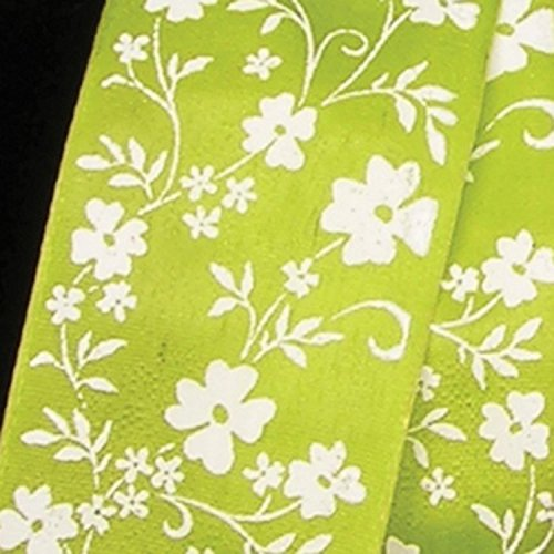 Green with White Small Flower Print Taffeta Wired Craft Ribbon 1.5