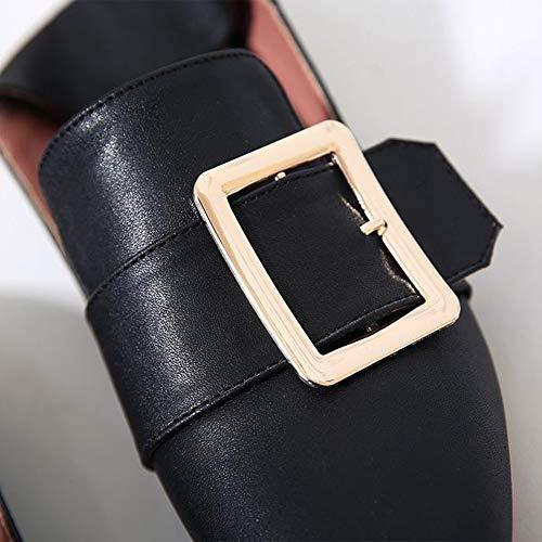 Hebilla Cuadrados Pedal De Zapatos Mujer Suaves Black Un Cuadrada Planos tfwH4qHx6