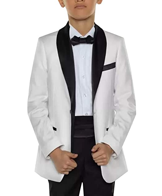 Amazon.com: Traje para niño blanco 2 piezas de chal formal ...