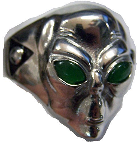 Alien Head with Green Eyes Silver Stainless Steel Biker Ring ( SIZE 10)