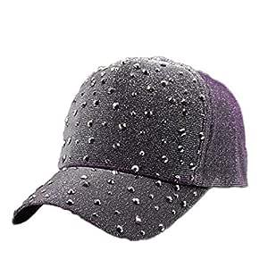 MinegRong Gorra de béisbol para niña para Mujer con Diamantes de ...