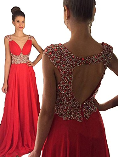 [Elegant V-neck Sweep Train Open Back Red Long Prom Dresses with Beading Red-Custom Made] (Jkara Woman Beaded Chiffon Gown)