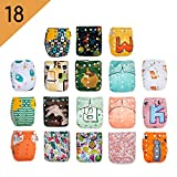 KaWaii Baby Pack of 18 Shells One Size Printed Snap Adjustable Leak-Proof Panel Washable Pocket Diaper Shells for 8-36 lbs| Reusable| Waterproof