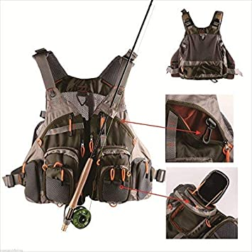 FanBell Adjustable Fly Fishing Mesh Vest Mutil-Pocket Outdoo Fishing Hiking General Size