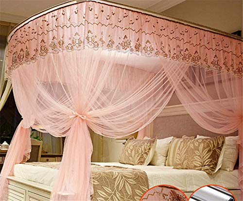 U-Type Retractable Bracket Mosquito net Double Bed Mosquito net Princess Mosquito net Three Door Thick Yarn Thickening Mosquito net Luxury Mosquito net, Pink, L (87-210Adjustment) W180cm by RFVBNM Mosquito net (Image #3)