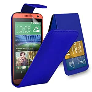 GBOS HTC Desire 610 - Leather Flip Case Cover Pouch + Screen Protector & Polishing Cloth ( Blue )