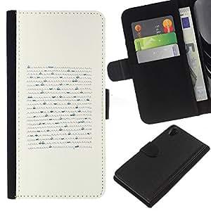 KLONGSHOP // Tirón de la caja Cartera de cuero con ranuras para tarjetas - Barco minimalista Art Pen olas del mar - Sony Xperia Z2 D6502 //