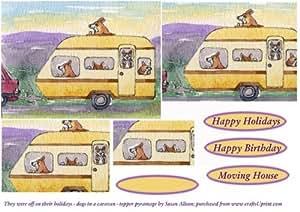 Estaban fuera de sus vacaciones – perros en una caravana – Topper por Susan Alison