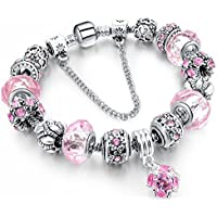 Morenitor Beaded Bracelet Handmade Carved Sterling Silver Plated Snake Chain Charms Bracelet Valentine's Day Jewelry Gifts for Her, 19.5cm (Pink)