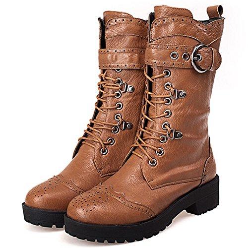 COOLCEPT Women Flat Low Heels Riding Bootie Shoes Martin Autumn Ankle Boots Yellow 1JTWJt