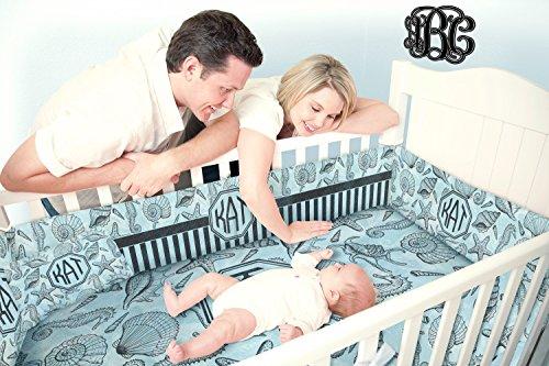 Sea-blue-Seashells-Crib-Comforter-Quilt-Personalized