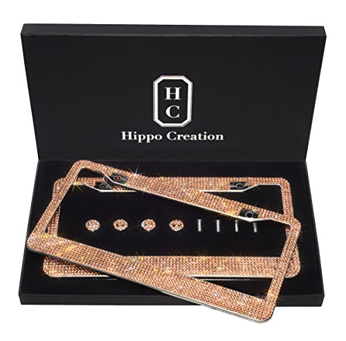 H C Hippo Creation 2 Pack Luxury Handcrafted True Color Bling Golden Rhinestone Premium Stainless Steel License Plate Frame w/Giftbox | Over 1000 Pcs Finest 14 Facets SS20 Golden Rhinestone Crystal