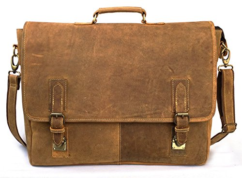 KK's 18'' Inch leather briefcase bag messenger satchel shoulder laptop bag for men and women by kk's leather