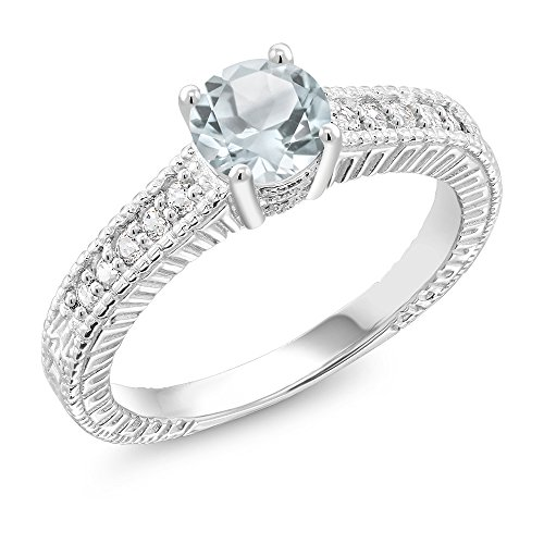925 Sterling Silver Sky Blue Aquamarine Ring (0.90 Ct Round, Gemstone Birthstone (Size (Aquamarine Round Ring)