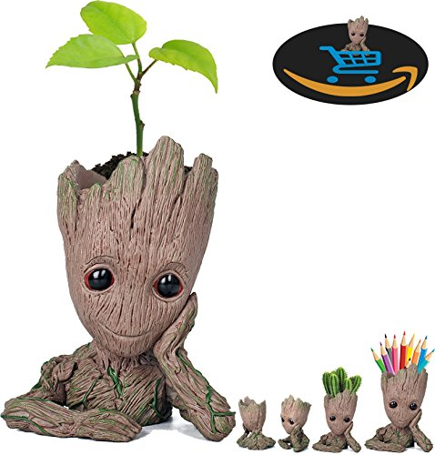 Prime Sale Day Deals Week Amazon 2018-Creative Groot Planter Pot Guardians of The Galaxy Flowerpot Baby Groot Action Figures Cute Model Toy Pen Pot Pencil Holder Best Gifts For Kids (Groot Cute) -
