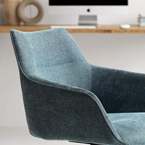 Slow Time Shop modern accent svängbar stol med träben tyg böjd armstol kontorsstol för hemmakontor arbetsrum vardagsrum fåfänga sovrum, blå