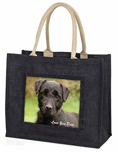 Advanta–Große Einkaufstasche Fell Terrier Love You Dad Große Einkaufstasche Weihnachtsgeschenk Idee, Jute, schwarz, 42x 34,5x 2cm
