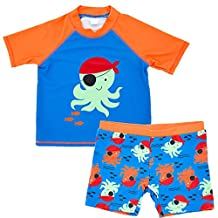 Baby Boys Rashguard Set 2-Piece Short Sleeve Swimwear with Sun Protection