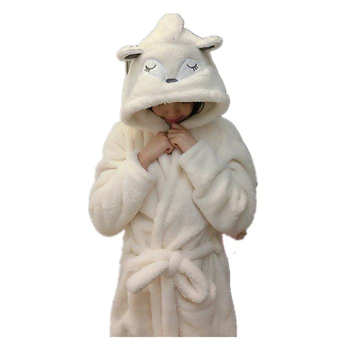 Woneart Albornoz para Mujer Niña Camisones Novedad Disfraz de Peluche Animales Ropa De Dormir con Capucha Batas Loungewear Costume Halloween Carnaval: ...
