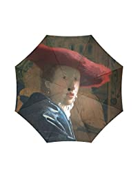 Friends Novelty Birthday Gifts Presents Vermeer - Girl with a Red Hat 100% Fabric And Aluminium Foldable High-quality Umbrella