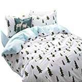 VClife Cotton Soft Bedding Sets Queen/Full Chic Garden Style Bedding Duvet Cover - 200 Series Kid Adults Unisex Bedding Comforter Cover, Zipper Closure and Corner Ties, Breathable, Lightweight, Queen