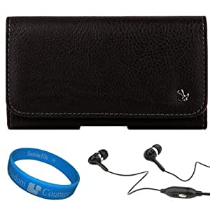 Black Textured Leather Protective Holster Carrying Case (Horizontal) for Samsung Galaxy Nexus SCH-I515 / SPH-L700 + 3.5mm Black Hands free Noise Reducing Headphones with Mic + SumacLife TM Wisdom Courage Wristband