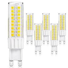 JandCase G9 LED light Bulbs, 6W (50W Halogen Equivalent), 500LM, Soft White (3000K) G9 Bi-pin Base, G9 Bulbs for Home Lighting (Pack of 5)