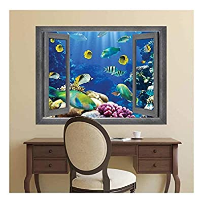 Majestic Picture, With a Professional Touch, Open Window Creative Wall Decor Underwater World Wall Mural
